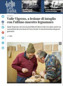 Corso di intaglio legno su Corriere della Sera